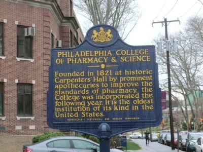 Philadelphia College of Pharmacy and Science Marker image. Click for full size.
