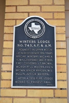 Winters Lodge No. 743, A.F. & A.M. Marker image. Click for full size.