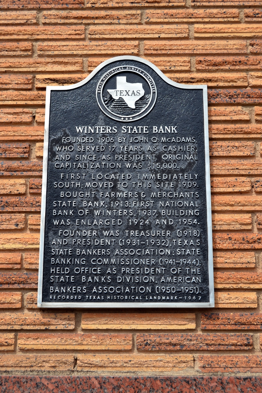 Winters State Bank Marker