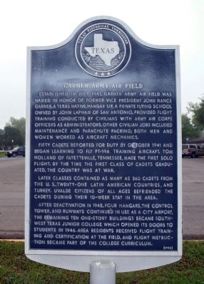 Garner Army Air Field Marker image. Click for full size.