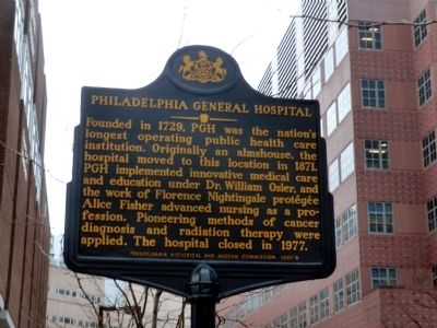 Philadelphia General Hospital Marker image. Click for full size.