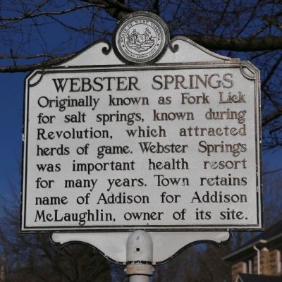 Webster Springs Marker image. Click for full size.
