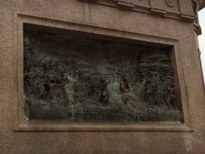 Bronze relief of the Siege of San Salvador (north side of monument) image. Click for full size.