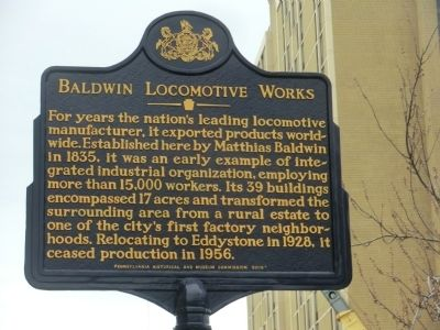 Baldwin Locomotive Works Marker image. Click for full size.