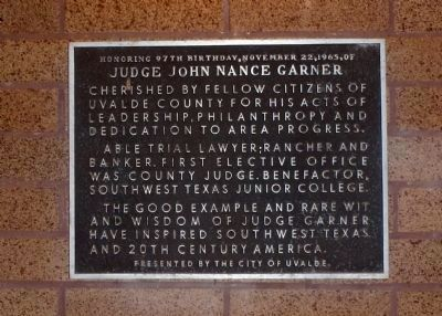 Judge John Nance Garner Marker image. Click for full size.