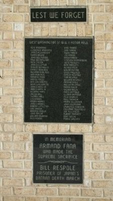 West Washington Street World War II Honor Roll image. Click for full size.