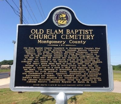 Old Elam Baptist Church Cemetery Marker image. Click for full size.