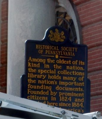 Historical Society of Pennsylvania Marker image. Click for full size.