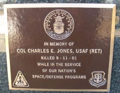 Col Charles E. Jones, USAF (Ret) Marker image. Click for full size.