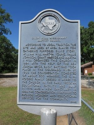 Union Hill Missionary Baptist Church Marker image. Click for full size.