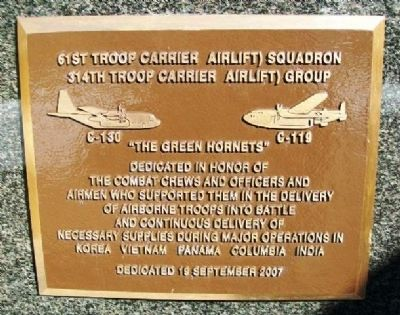 61st Troop Carrier (Airlift) Squadron Marker image. Click for full size.