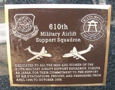 610th Military Airlift Support Squadron Marker image. Click for full size.
