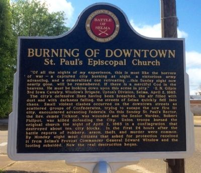 Burning of Downtown Marker (Front) image. Click for full size.