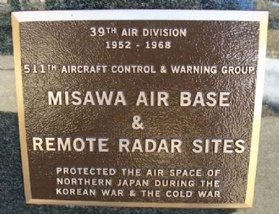 Misawa Air Base & Remote Radar Sites Marker image. Click for full size.