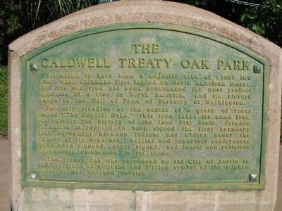 The Caldwell Treaty Oak Park Marker image. Click for full size.