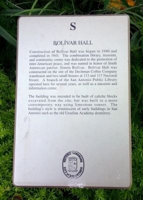 Bolivar Hall Marker image. Click for full size.