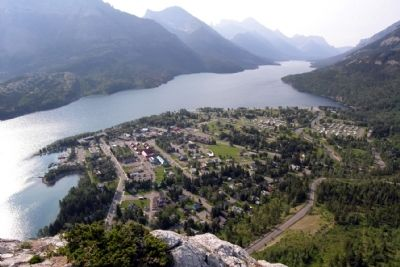 Upper Waterton Lake and the Town of Waterton image. Click for full size.