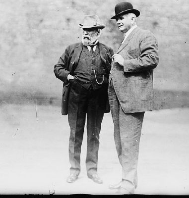 James J. Hill (left) with Carl R. Gray, President of the Union Pacific Railroad image. Click for full size.