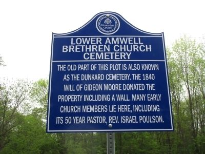Lower Amwell Brethren Church Cemetery Marker image. Click for full size.