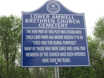 Lower Amwell Brethren Church Cemetery Marker #2 image. Click for full size.