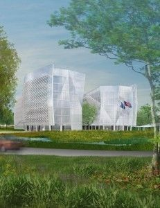Drawing of new FBI headquarters named in honor of Agents Grogan and Dove image. Click for full size.
