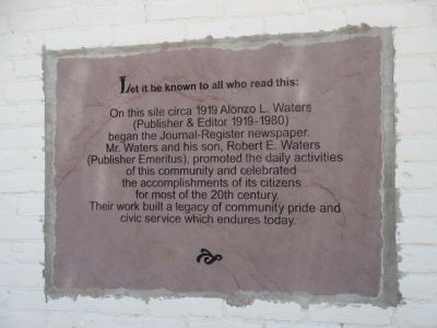 Alonzo L. Waters Journal-Register Marker image. Click for full size.