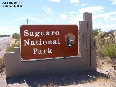 Sign at the entrance to Saguaro National Park image. Click for full size.