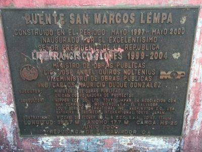 San Marcos Lempa Bridge Marker image. Click for full size.