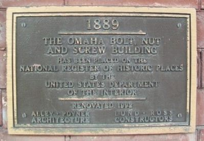The Omaha Bolt, Nut and Screw Building NRHP Marker image. Click for full size.