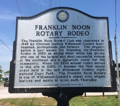 Franklin Noon Rotary Rodeo Marker image. Click for full size.