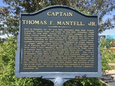 Captain Thomas F Mantell, Jr. Marker image. Click for full size.