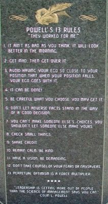 Colin L. Powell's 13 Rules on Monument image. Click for full size.