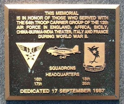 64th Troop Carrier Group Marker image. Click for full size.