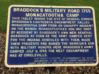 Braddock's Military Road 1755 Monacatootha's Camp Marker image. Click for full size.