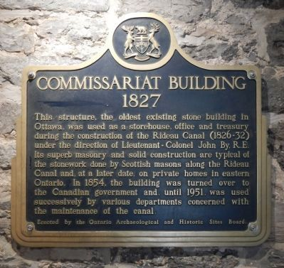 The Commissariat, 1827 plaque, located inside the building image. Click for full size.