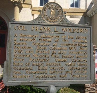 Col. Frank L. Wolford Marker image. Click for full size.