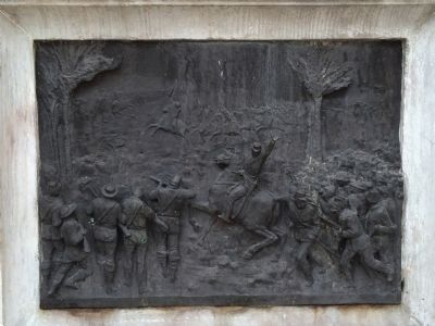 Bronze relief of the Battle of Las Charcas image. Click for full size.