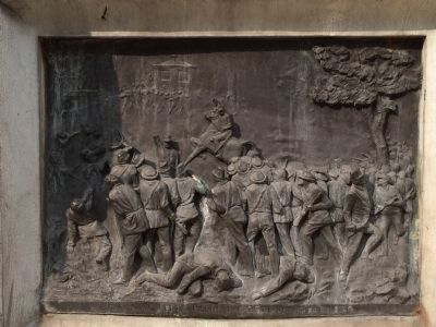 Bronze relief of the Battle of San Pedro Perulapan image. Click for full size.