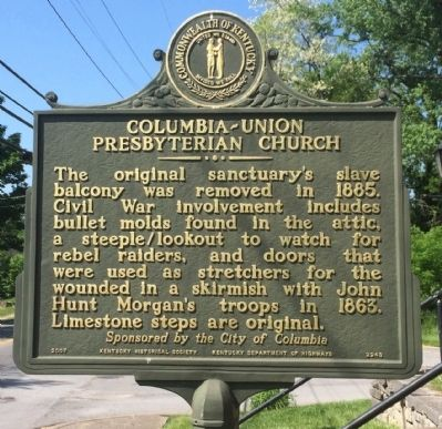 Columbia-Union Presbyterian Church Marker (Side 2) image. Click for full size.
