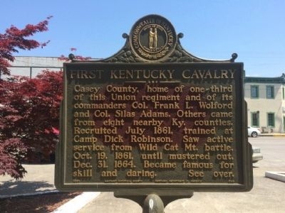 First Kentucky Cavalry Marker (Front) image. Click for full size.
