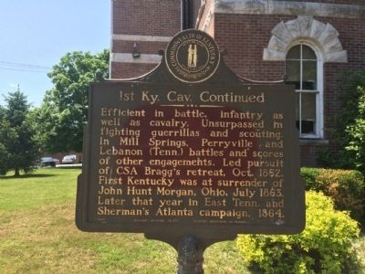 1st Ky. Cav. Continued Marker (Rear) image. Click for full size.