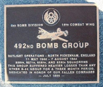 492nd Bomb Group Marker image. Click for full size.