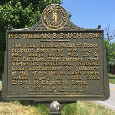 PFC William B. Baugh, USMC Marker image. Click for full size.