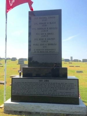 Grave marker for PFC Sousley & Memorial to Iwo Jima. image. Click for full size.