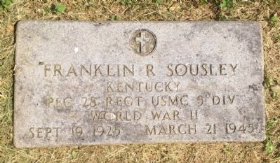 VA Grave marker for PFC Franklin Runyon Sousley image. Click for full size.