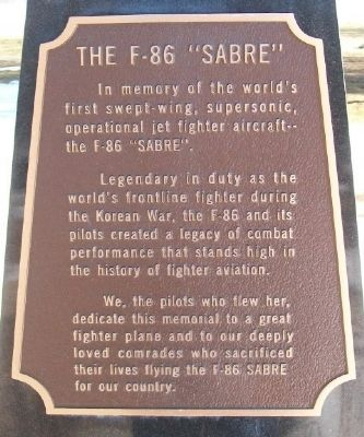 "The F-86 ""Sabre"" Marker image. Click for full size."