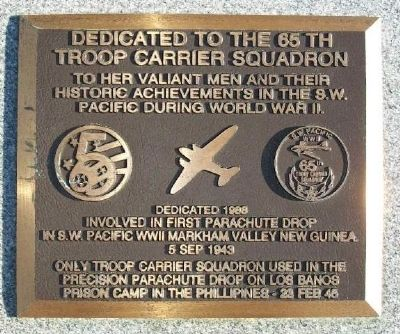 65th Troop Carrier Squadron Marker image. Click for full size.