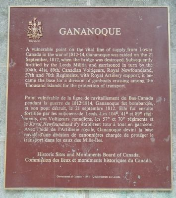 Gananoque Marker image. Click for full size.