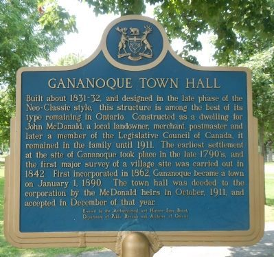 Gananoque Town Hall Marker image. Click for full size.