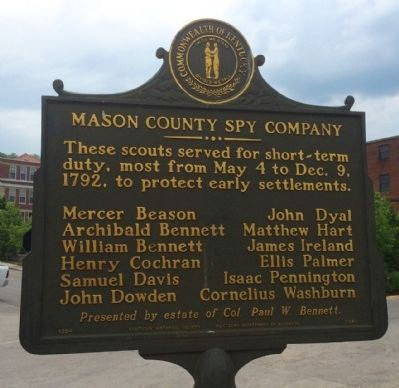Mason County Spy Company Marker (Side 2) image. Click for full size.